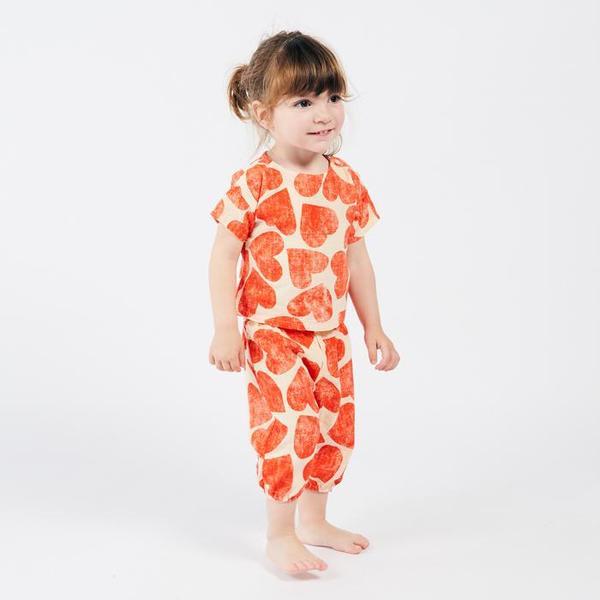 Kids Bobo Choses Short Sleeved Blouse - All Over Hearts Print