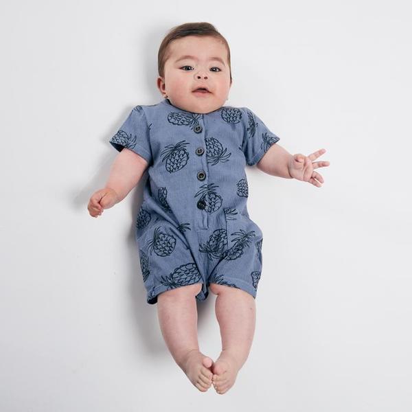 Kids Bobo Choses Short Sleeved Romper - All Over Pineapple Print