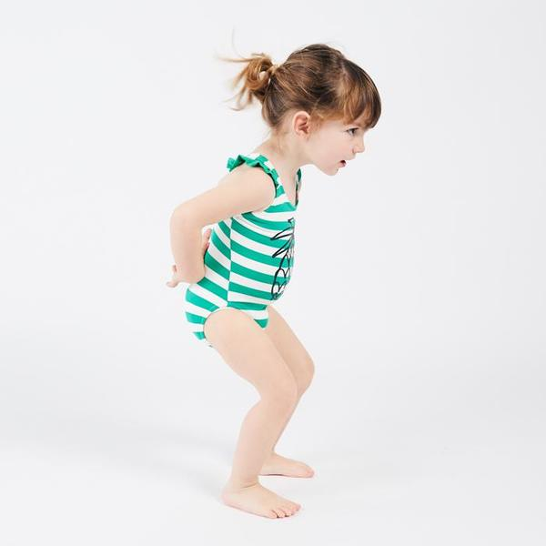 Kids Bobo Choses Swimsuit With Pineapple Print - Green/White Stripes