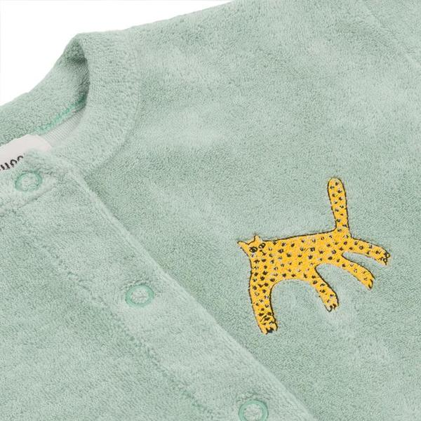 Kids Bobo Choses Terry Cardigan With Leopard Embroidery - Green
