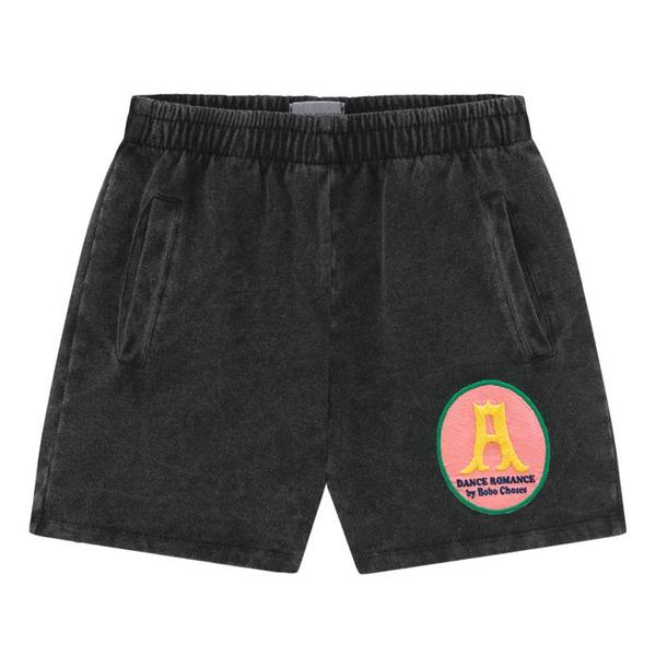 Kds Bobo Choses Fleece Shorts With Shall You Dance Patch - Black