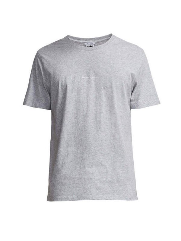 NN07 3208 Ethan Print Tee - Light Grey Melange