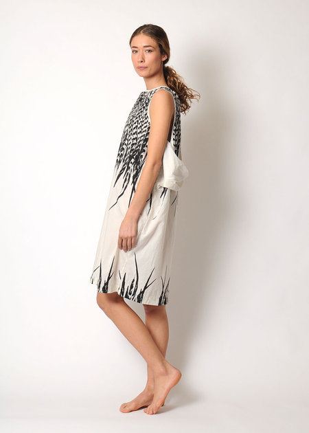 Uzi NYC Oxford Feather Dress - white
