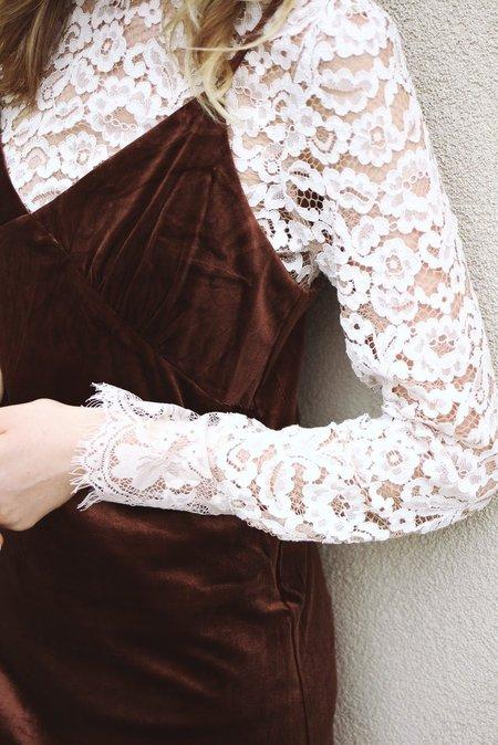 LUCCA Velvet Mini Dress - BROWN