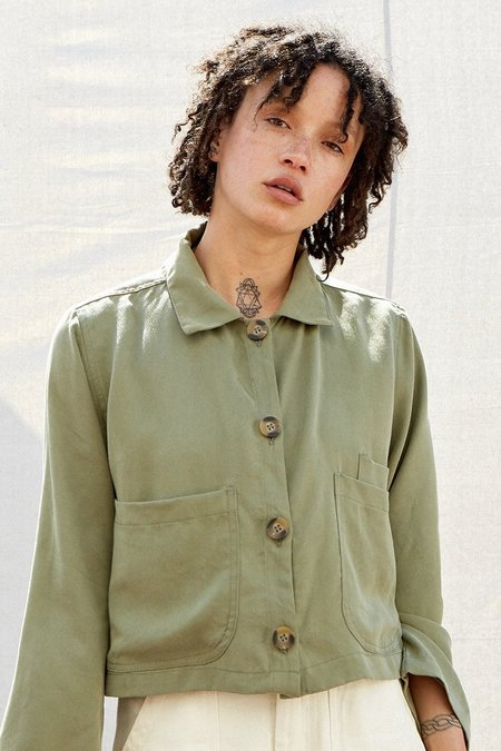 Back Beat Co. Cropped Shirt Jacket - SAGE