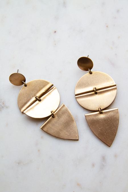Sandy Hyun Circular and Triangular Post Earrings - Brass