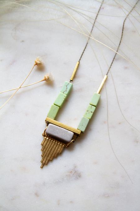 David Aubrey Inc Magnesite Marble Brass Detail Necklace