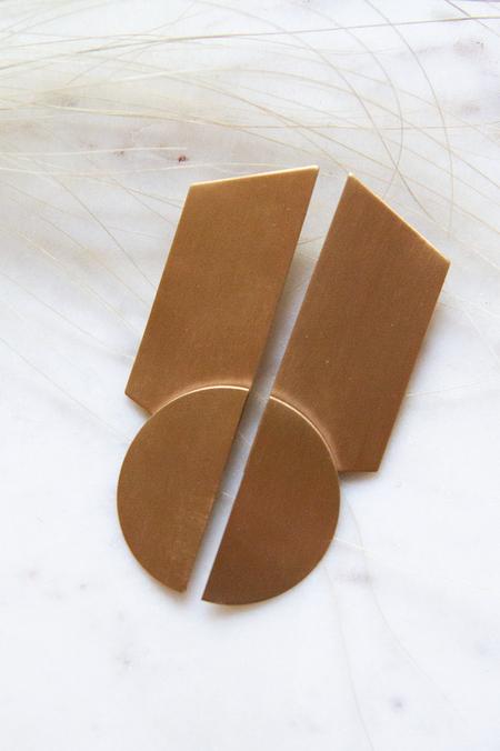 David Aubrey Inc Post Rhombus Half Circle Satin Earrings - Brass