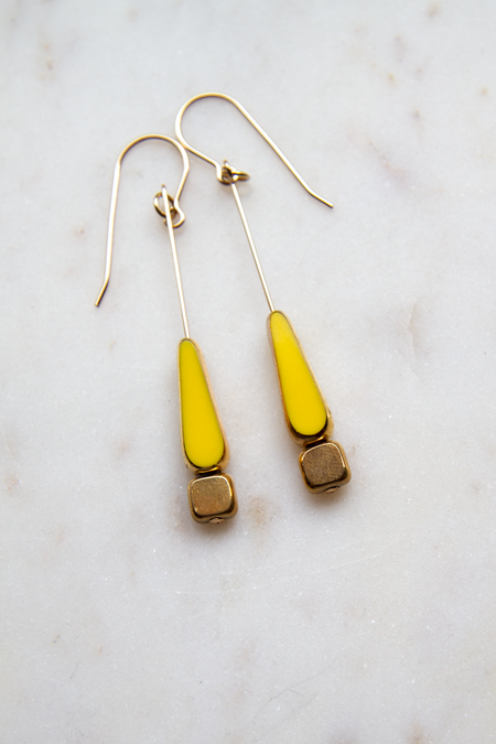I. Ronni Kappos Tear Gold Dipped Drop Earrings - Yellow