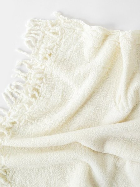shokino khadi wool throw - natural