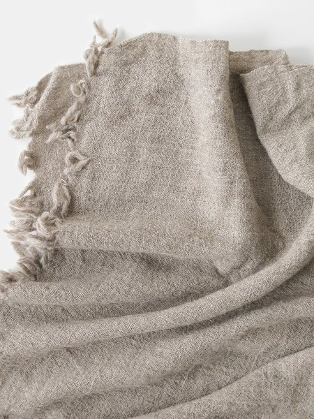 shokino khadi wool throw - oat