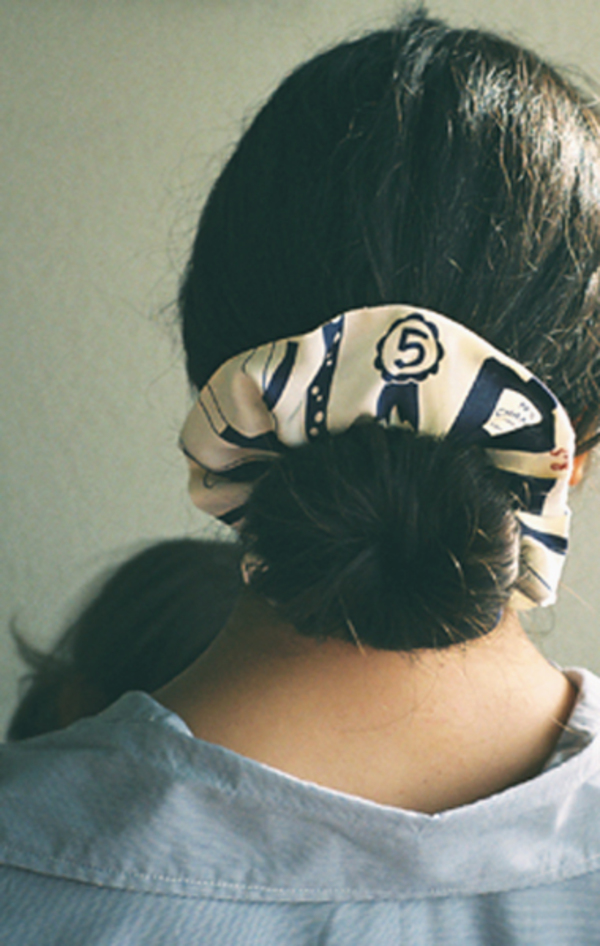 Cherished Objects Chanel Hair Cloud No. 2 Scrunchie - Navy/Cream