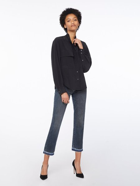 FRAME Denim Silk Shirred Sleeve Button Up - Noir