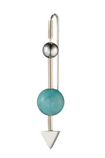 Katrine Kristensen Silver Amazonite 2 Balls Arrow Earring Single
