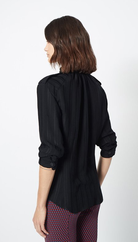 Smythe Utilitarian Blouse - Black Shadow Stripe