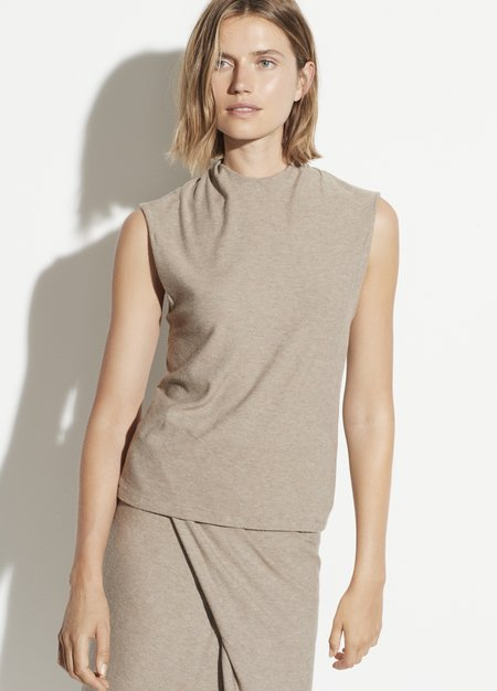 Vince Draped Neck Shell Top - Heather Dove Oat