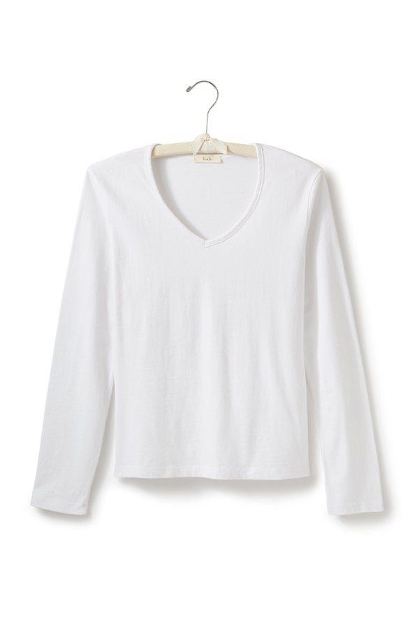 Lisa B. cotton long sleeve relaxed v-neck t-shirt