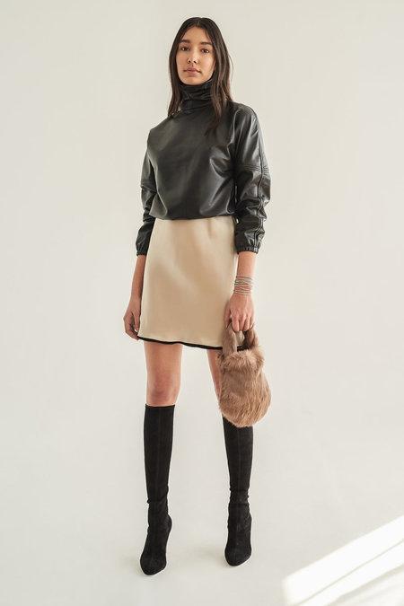 Alyson Eastman Leather Turtleneck - Black