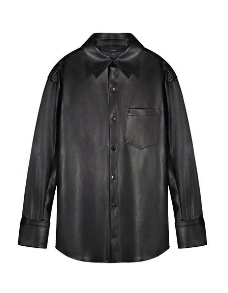 Unisex Pause. Delancey Genderless Vegan Leather Shirt - Black