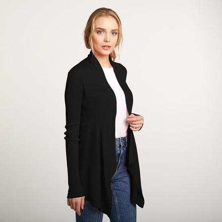 Autumn Cashmere Cotton Rib Drape Cardigan - Black