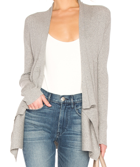 Autumn Cashmere Cotton Rib Drape Cardigan