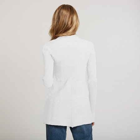 Autumn Cashmere Cotton Rib Drape Cardigan - Bleach White