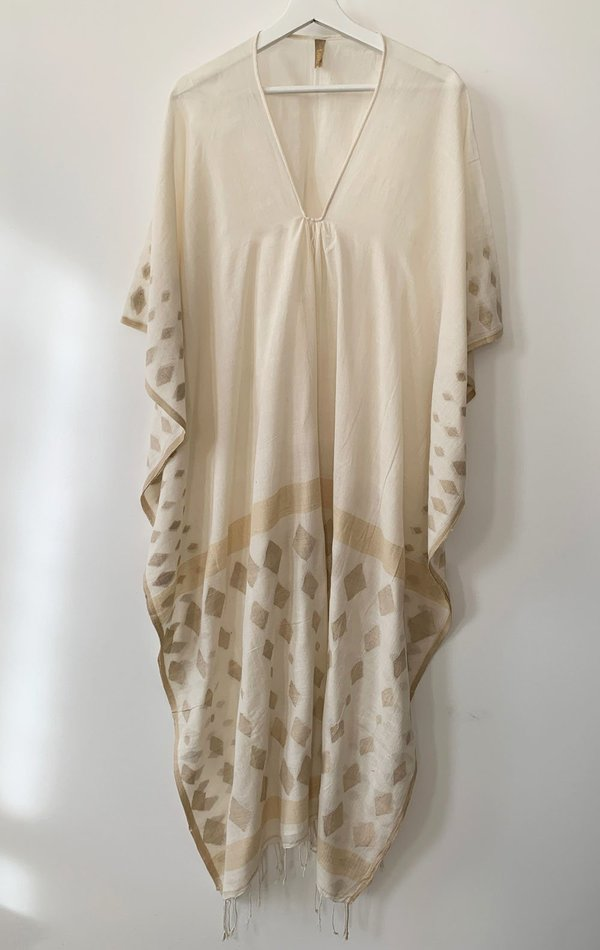 Two Natural caftan with handwoven motif