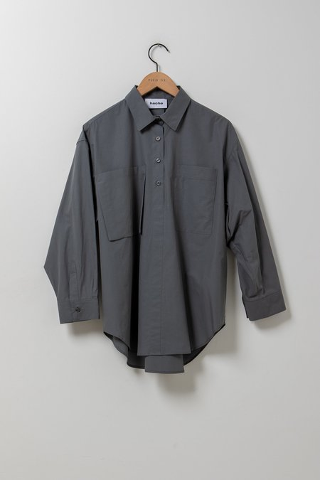 Hache Oversized Button Down Blouse - Grey
