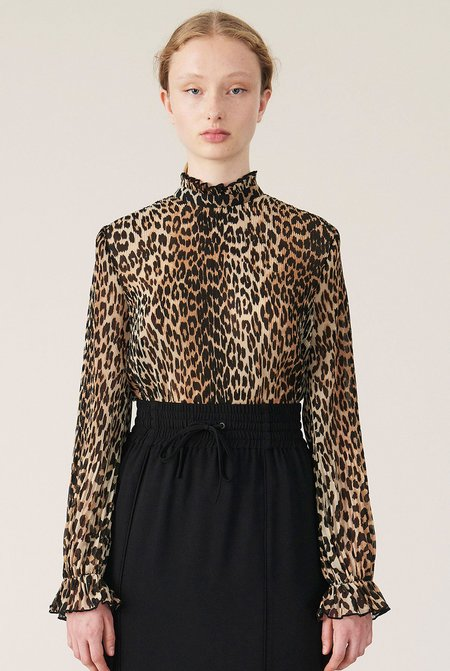 Ganni Pleated Georgette Blouse - Leopard