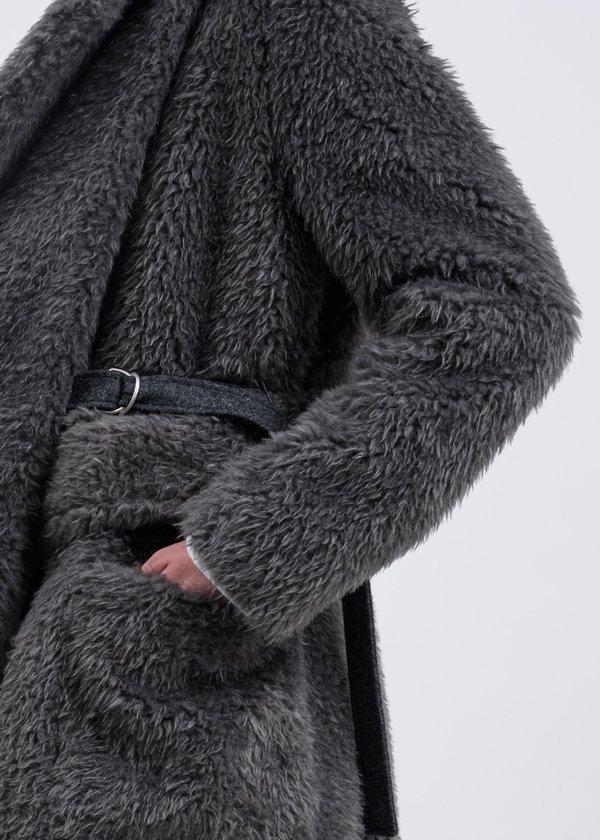 Helmut Lang Shaggy Fur Belted Coat - Charcoal