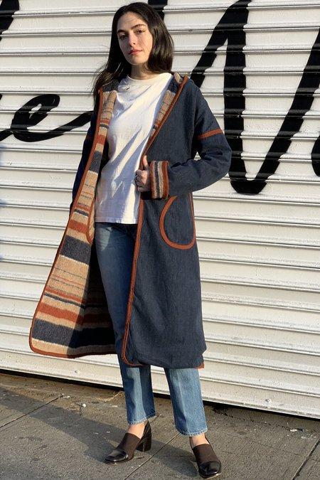 Vintage Reversible Blanket Coat - Dark Denim/Neutral Stripe