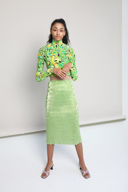 Nomia Micro Pleated Skirt - Lime