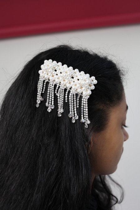 SHRIMPS Penelope Crystal Hairclip - white