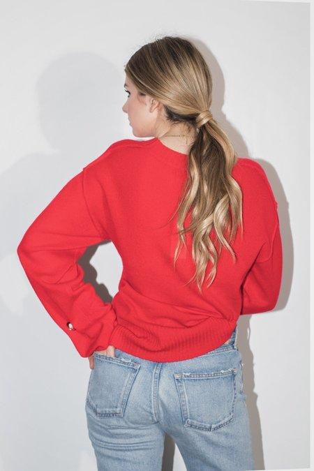 SOH Rusched Cuff Pullover - ruby