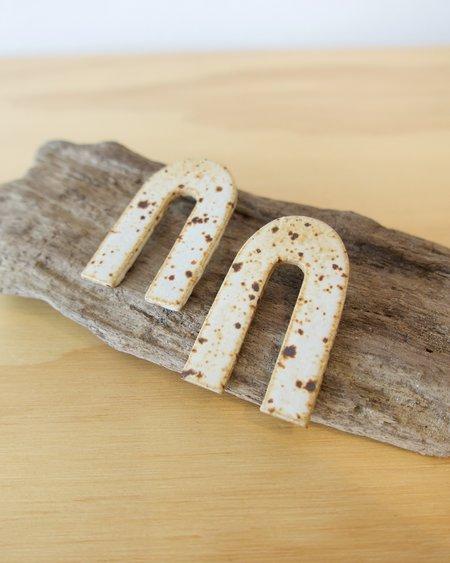 E Heid Ceramics Medium Arc Earrings - White