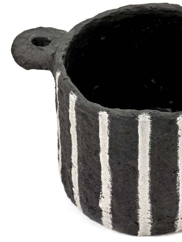 Serax Papier Mache Pot - Black/Vertical Stripes