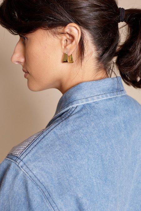 Modern Weaving Trapezoid Hinge Earrings - Brass