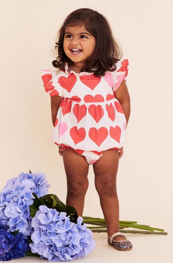 Kids Pink Chicken Jennifer Bubble Onesie - Valentine Hearts