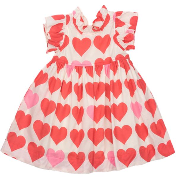 Kids Pink Chicken Jennifer Dress - Valentine Hearts