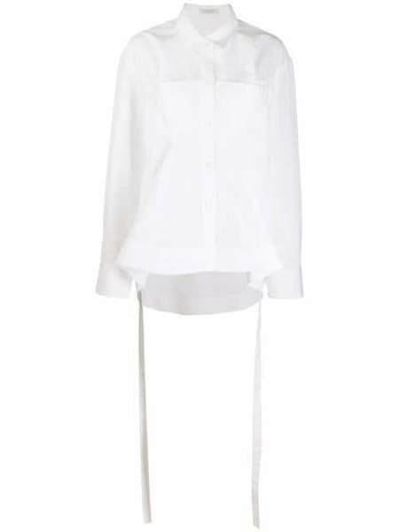 Nina Ricci Poplin Fitted Waist Button Up Shirt - White