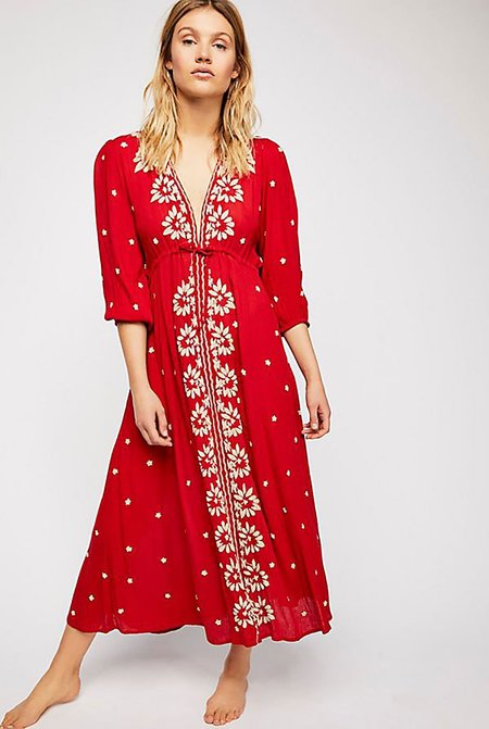 Free People Embroidered V Neck Maxi Dress - Red