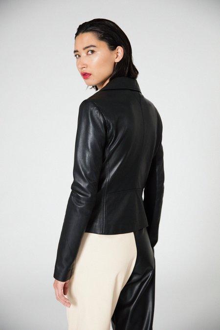 Veda Dallas Smooth Leather Jacket - Black