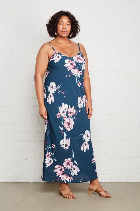 Rachel Pally White Label Crepe Bia Plus Size  Slip Dress - Teal Blossom