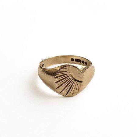 Vintage Mara Found Collection No. 66 Signet Sunburst Ring - Gold