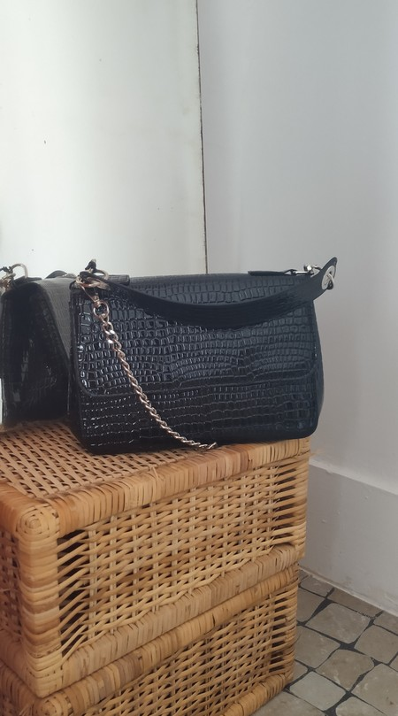 HVISK Dally Croco Handbag - Black
