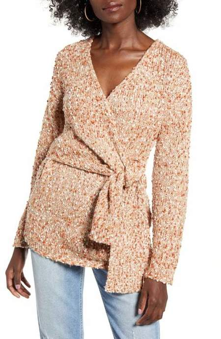 JOA Samantha Rust Boucle Wrap Sweater