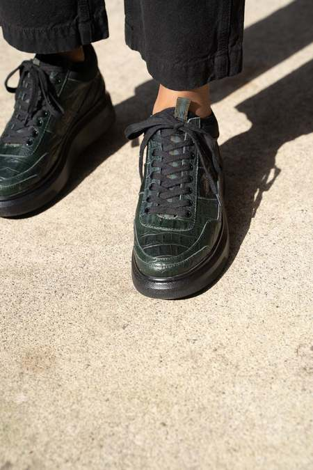 Suzanne Rae Lace Up Sneakers - Green Embossed Croc