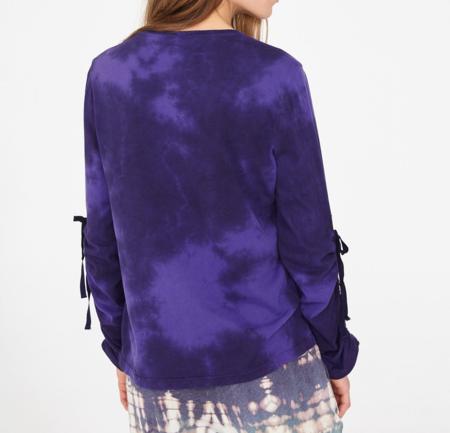 Raquel Allegra gathered long sleeve top - purple tie dye