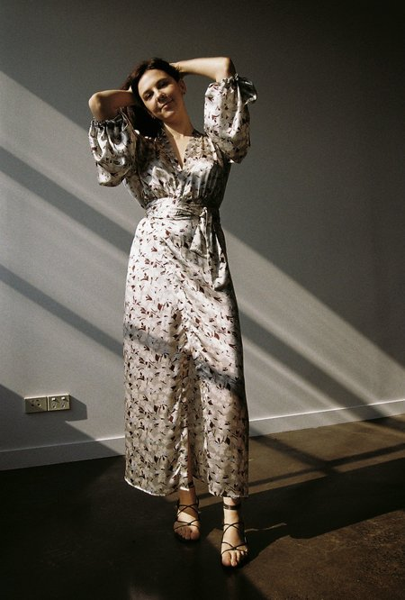BEFORE MARCH Isabel Wrap Silk Print Dress