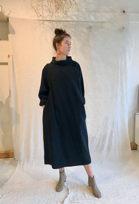 Black Crane Tube Dress - Midnight